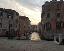 Sunset in Venice Over a Canal in the Jewish Quarter